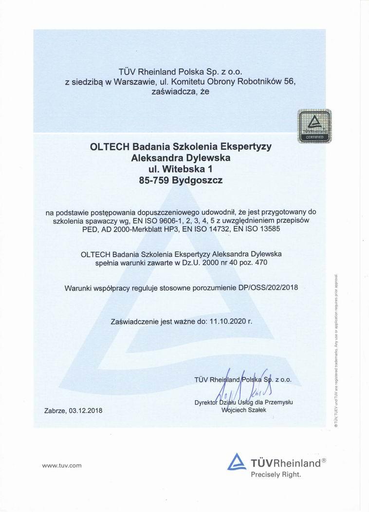 Certyfikaty i referencje - Kursy spawania, szkolenie